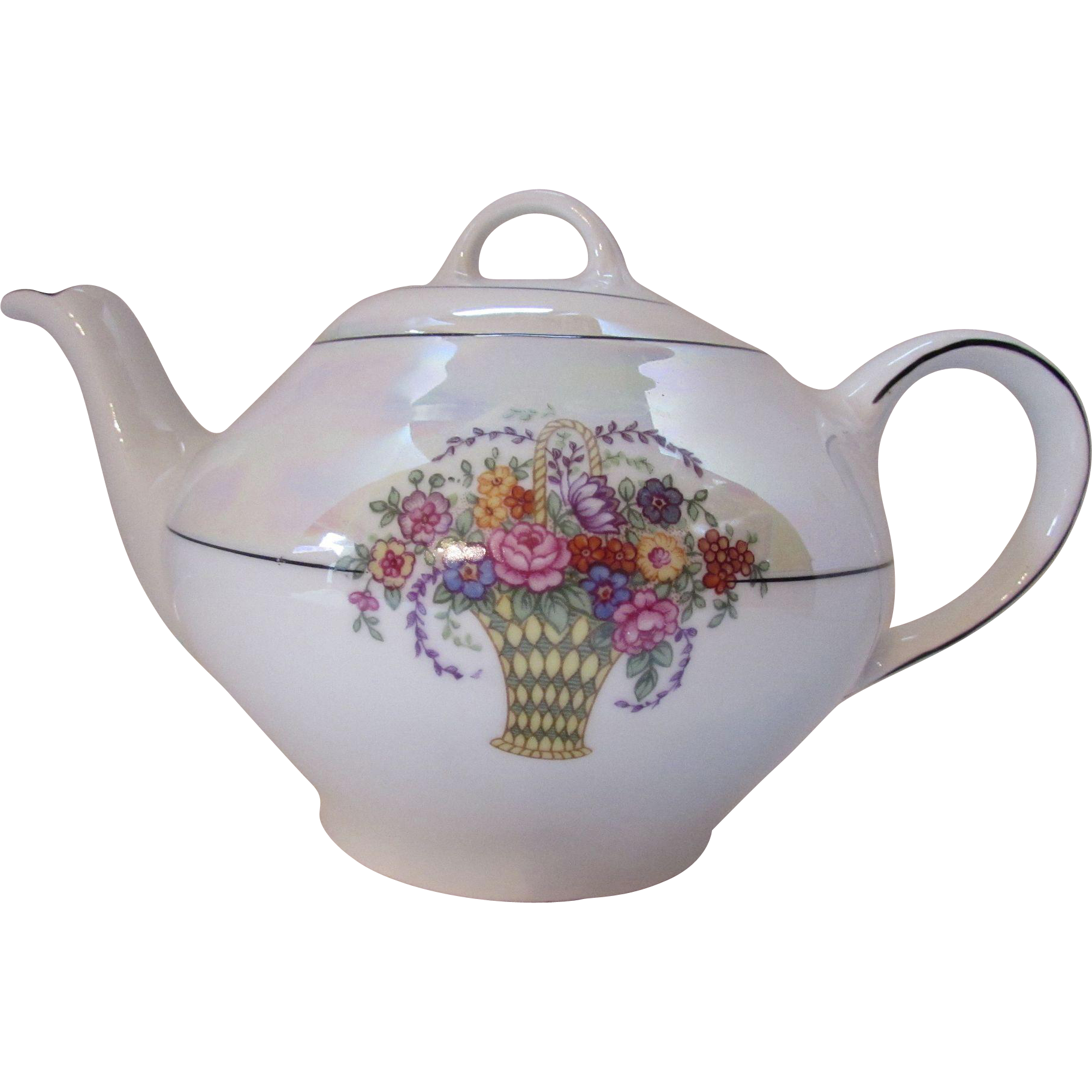 Tea Pot in Cream Lustre Ware with Colorful Basket Design Bavaria S & C