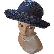Navy Chipped Straw Spring or Summer Hat with Wide Rolled Brim by Dowa Marshall  Field & Co