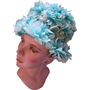 1960 Era Bouffant Lamp Shade Hat in Profusion of Turquoise and White Flowers