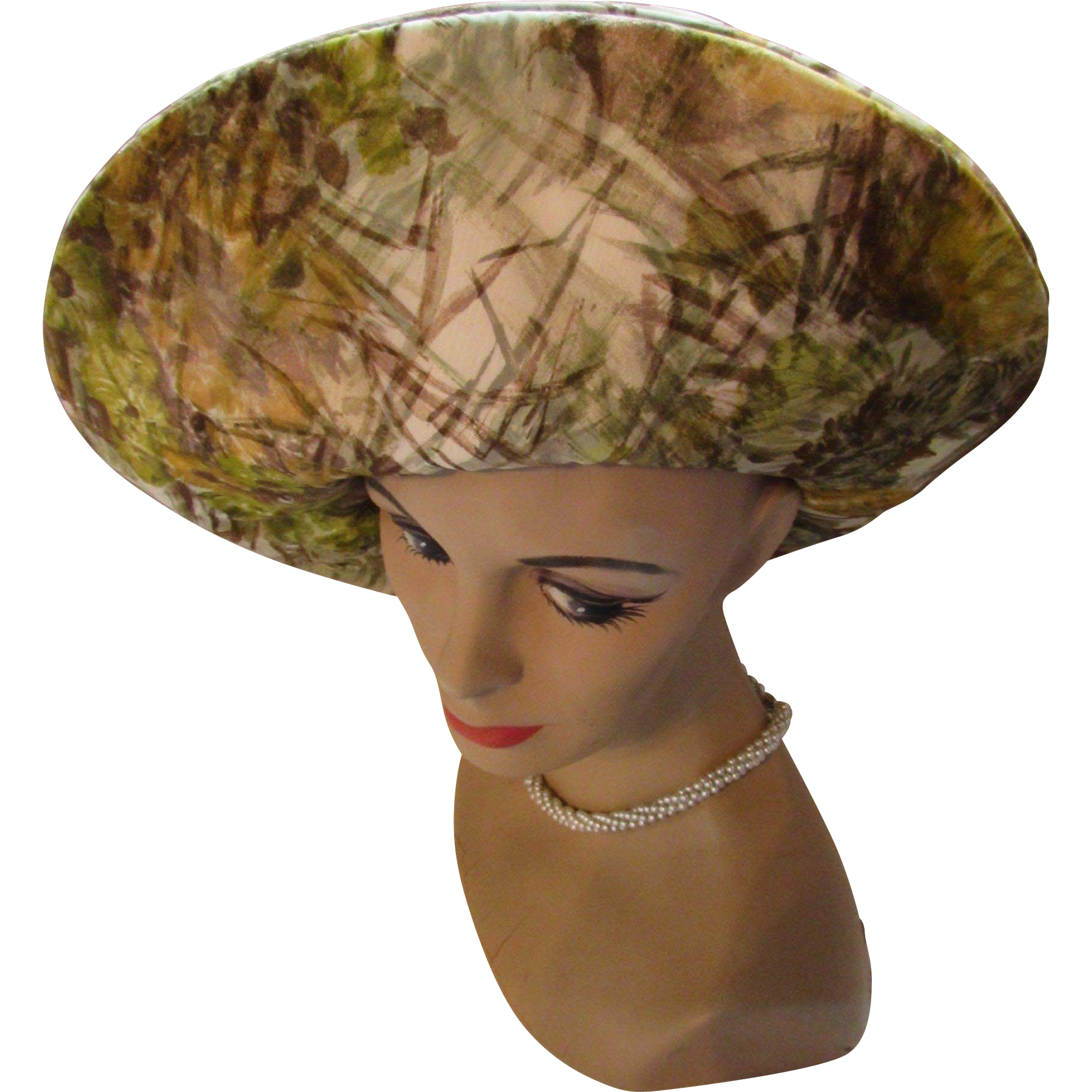 Large Brim Hat by Mr. John Classics in Impressionistic Woodsy Tones of Sage, Cumin and Chestnut