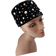 Vintage Toque Hat in Black Velvet with Scattered Clear Rhinestones Marshall Field and Company