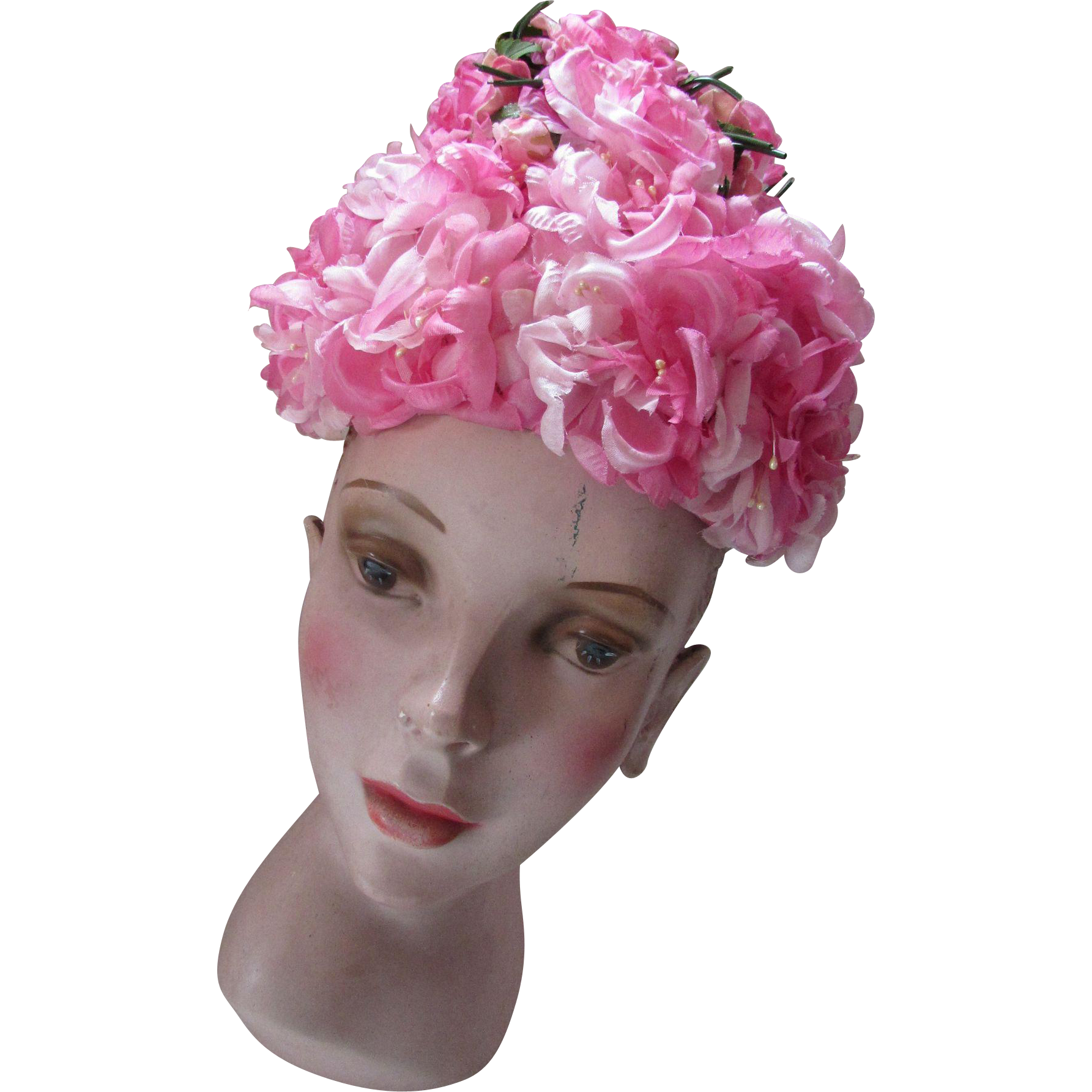 1960 Era Bouffant Flower Hat in Shades of Pink Marshall Field and Company