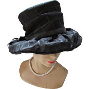 Black Fabric Hat '60's Style in High Crown Wide Brim Mr. John Classic