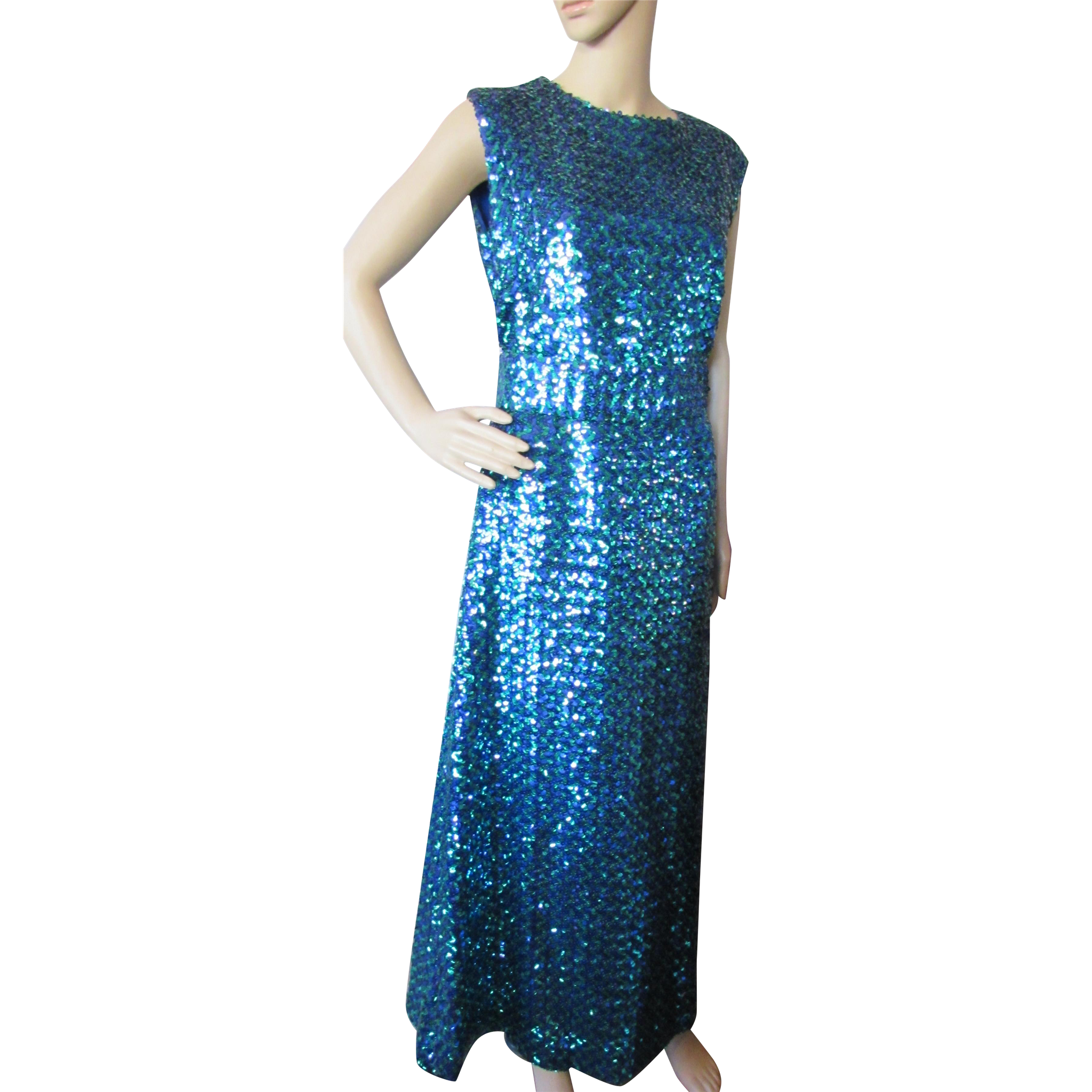 Sparkly Long Gown in Electric Blue and Kelly Green Sequins Custom Made Size Medium/Large