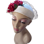 Spring Hat in Winter White Fabric with Lovely Cherry Red Roses