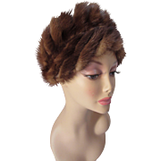 Mink Hat in Warm Brown Swirls with Wide Brim and High Top by Lora