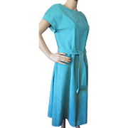 Turquoise Ultra Suede Day Dress Custom Made with Top Stitching Size 14
