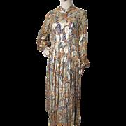 1970 Era Metallic Lounge Dress in Paisley Navy Orange and Gold Metallic Size Medium