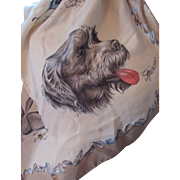 Fun Ladies Scarf with  Dog Portraits Setter Pointer Spinone with Game Birds in Taupe and Blue