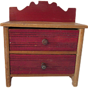Wood Doll Dresser in Red Paint and Plain Wood Ridged Panels