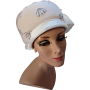 Winter White Vintage Bubble Hat with Silver Sequin Decoration 100% Wool Glenover Henry Pollak and Mr. Richard 1960 Style