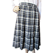 Miss Pendleton Pleated Plaid Skirt in Gray and Yellow Size Large