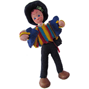 Cloth Doll Maria Helena of Portugal Style Ethnic Accordion Player in Bright Colors