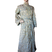 Comfy Winter Robe in Quilted Aqua Blue and Gold Brocade by Dynasty Made in Hong Kong BCC
