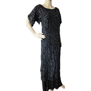 Edwardian Style Evening Gown in Black Beading and Magenta Accents Size Medium