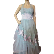 Blue Turquoise Prom Dress in Tons of Tulle and Satin 1950 Style Mid Century Era