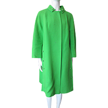 Lime Green Spring Coat Banded Collar and Dolman Sleeves Mid Length Late 20th Century
