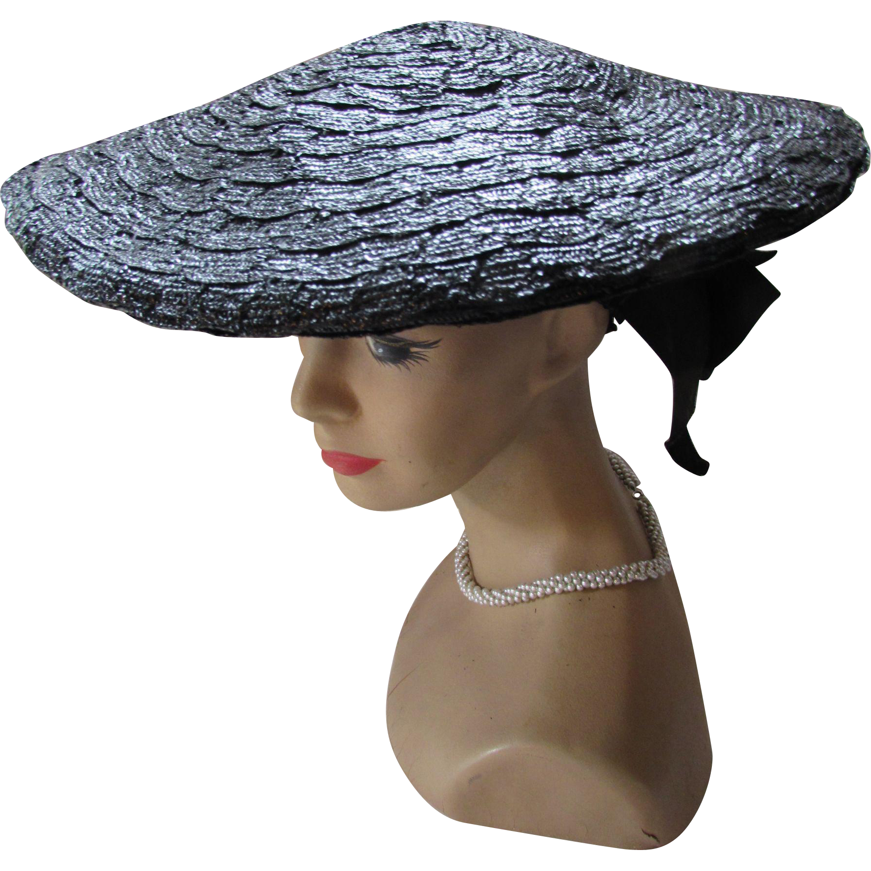 Shiny Black Pancake Hat in Straw Weave with Black Ribbon Bow by Jean Allen Styled by Gage Mid Century