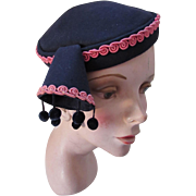 Unusual Mid Century Felt Hat in Navy with Pink Trim and Pom Pom Edged Horn 1940 1950