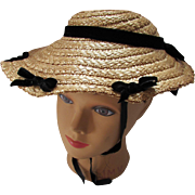 Sweet Straw Hat with Black Velvet Bows by Petit Chapeau by Richard Englander