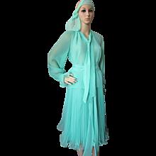 Flirty Mint Green Chiffon Two Piece Outfit with Accordion Pleats Boho Style Size Medium Large
