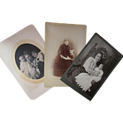 Trio Mother and Child Photographs In Victorian Dress in Sepia and Black and White