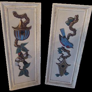 Mid Century Wall Decor Ideal Originals of Southern California Hand Decorated Panels Bird Design