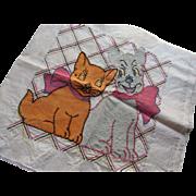 Embroidery Pillow Top Orange Cat Gray Dog Vogue Needlecraft