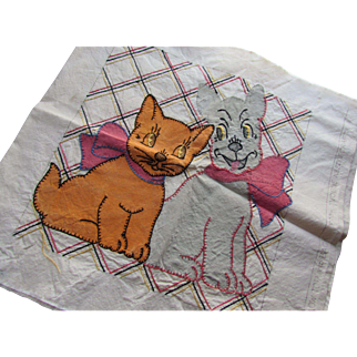 Embroidery Pillow Top Orange Cat Gray Dog Vogue Needlecraft