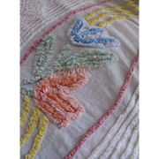 Cottage Style Chenille Bedspread with Peach, Blue, Mint, Yellow Flowers with Pink Border on White Queen Size