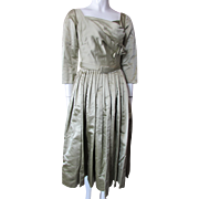 Stunning Mollie Parnis Cocktail Dress 1950 1960 Style in Sage Satin Full Skirt