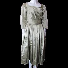 Stunning Mollie Parnis Cocktail Dress 1950 1960 Style in Sage Satin Full Skirt