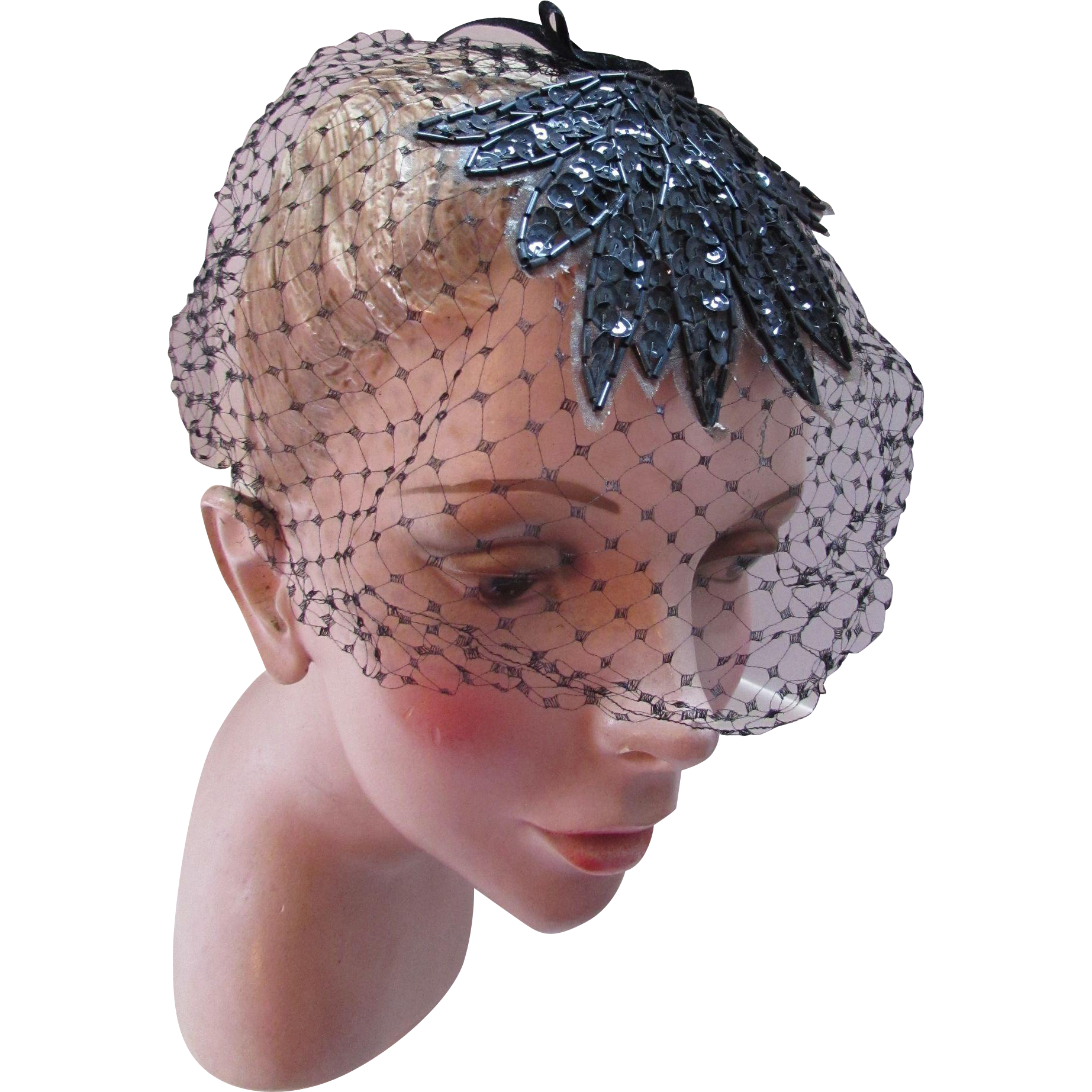 Veil Hat Black Net, Sequin and Bugle Bead Whimsy