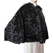 Victorian Era Black Fur Cape with Scrolled Beading