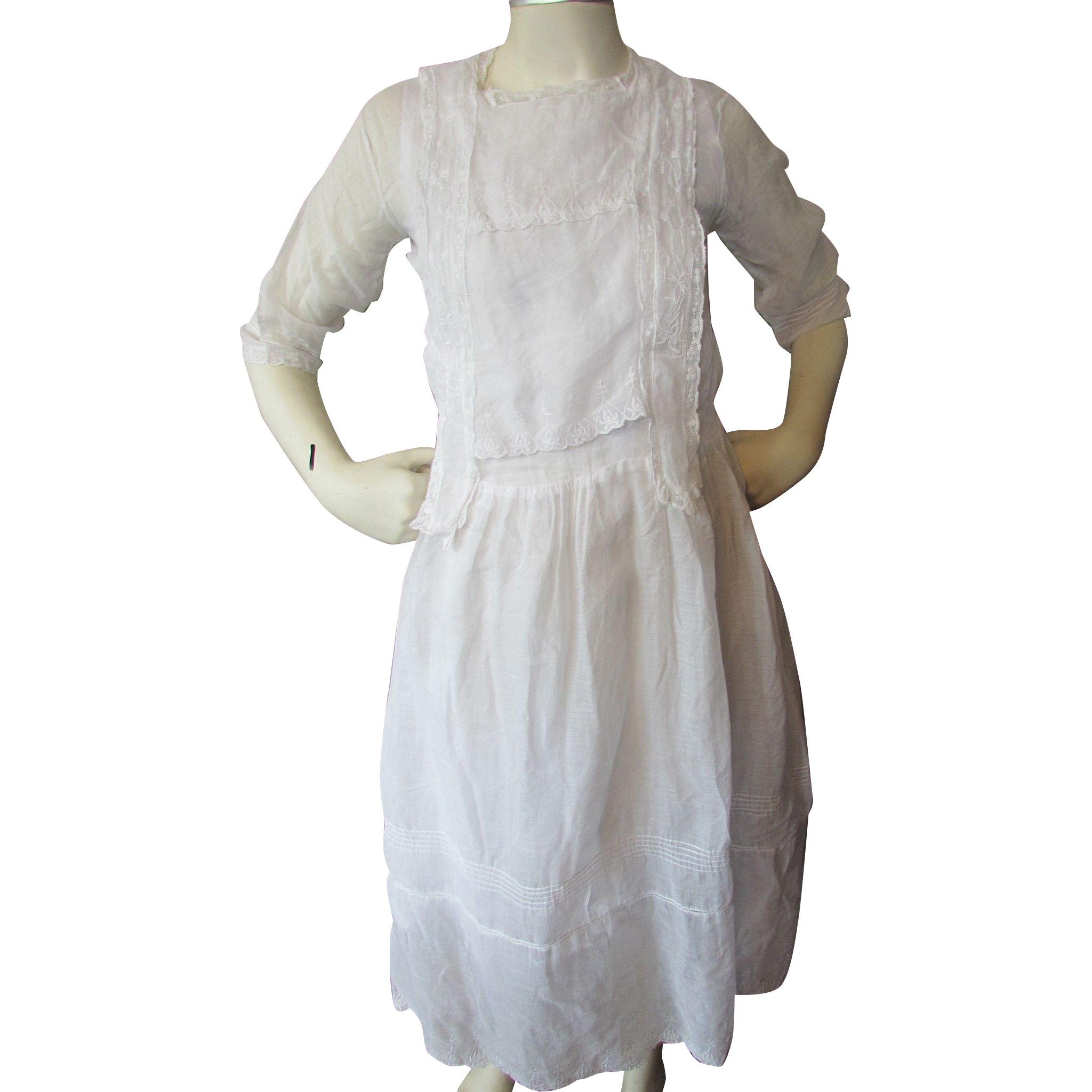 1920's Era Pre-Adolescent Girl's Summer Dress in White Lace and Embroidery with Slip