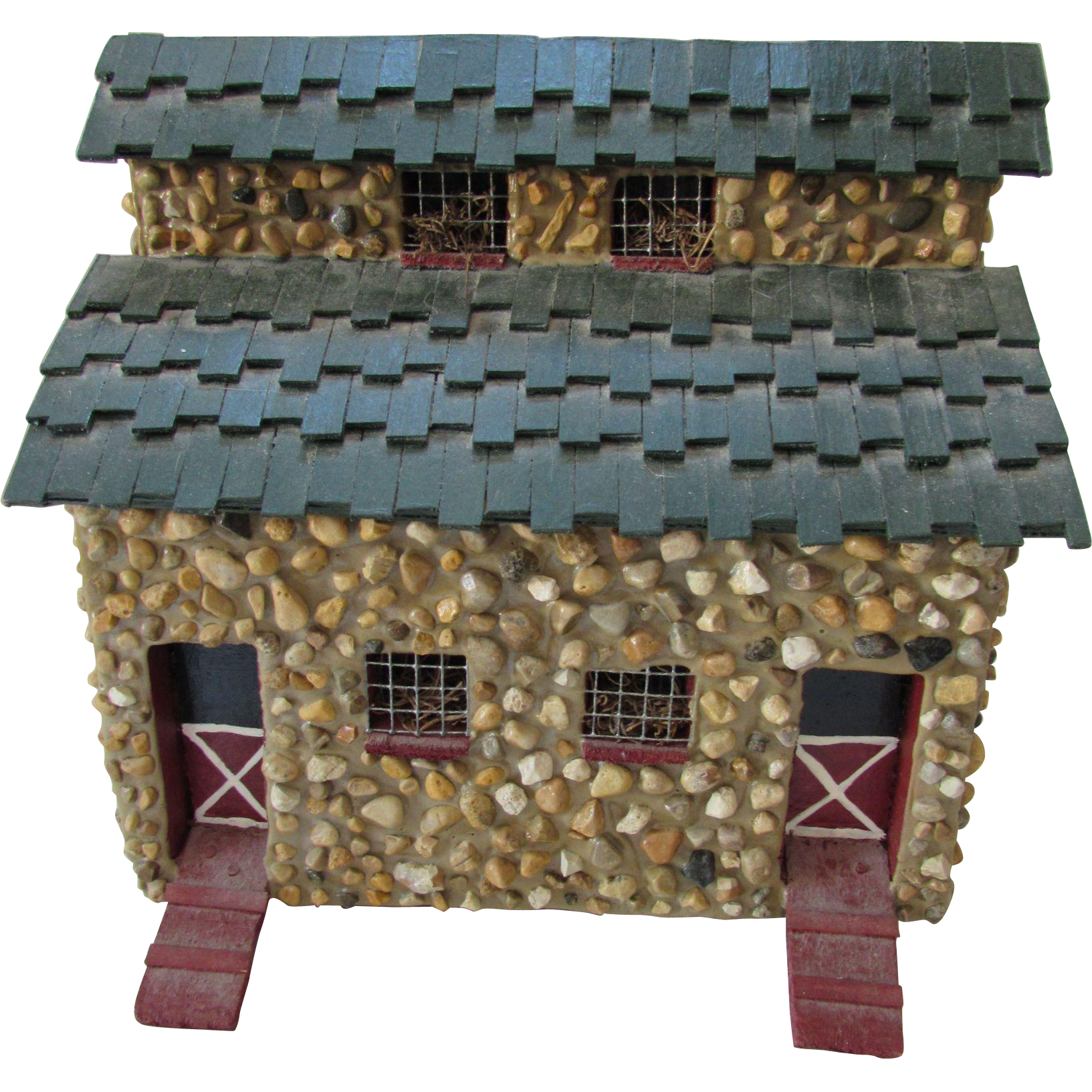 Folk Art Style House or Barn Made of Pebbles and Painted Wood Rustic Style