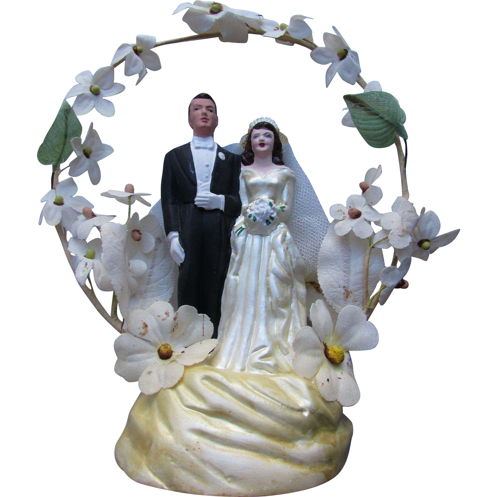 Vintage Wedding Cake Topper Bride and Groom with Flowered Arch in Plaster 1940/1950 Style