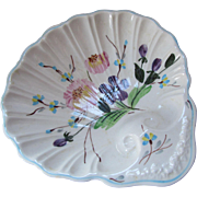 Blue Ridge Southern Pottery Floral Design Shell Shape Bon Bon Plate Hand Painted