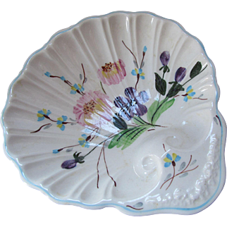 Blue Ridge Southern Pottery Floral Design Shell Shape Bon Bon Plate Hand Painted