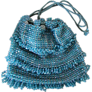 Turquoise Beaded Flapper Deco Purse