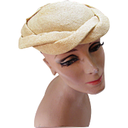 Ladies Spring or Summer Half Hat in Straw Color Weave from Carson Pirie Scott Company Chicago