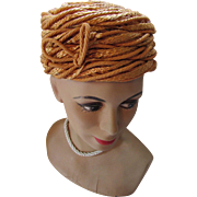 Unusual Pill Box Hat Apricot Tone Fiber Woven and Braided Cord by Sheppard of New York for Carson Pirie and Scott