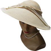 Linen Tone Straw Picture Hat with Wide Brim and Velvet Ribbon by Clemar Original