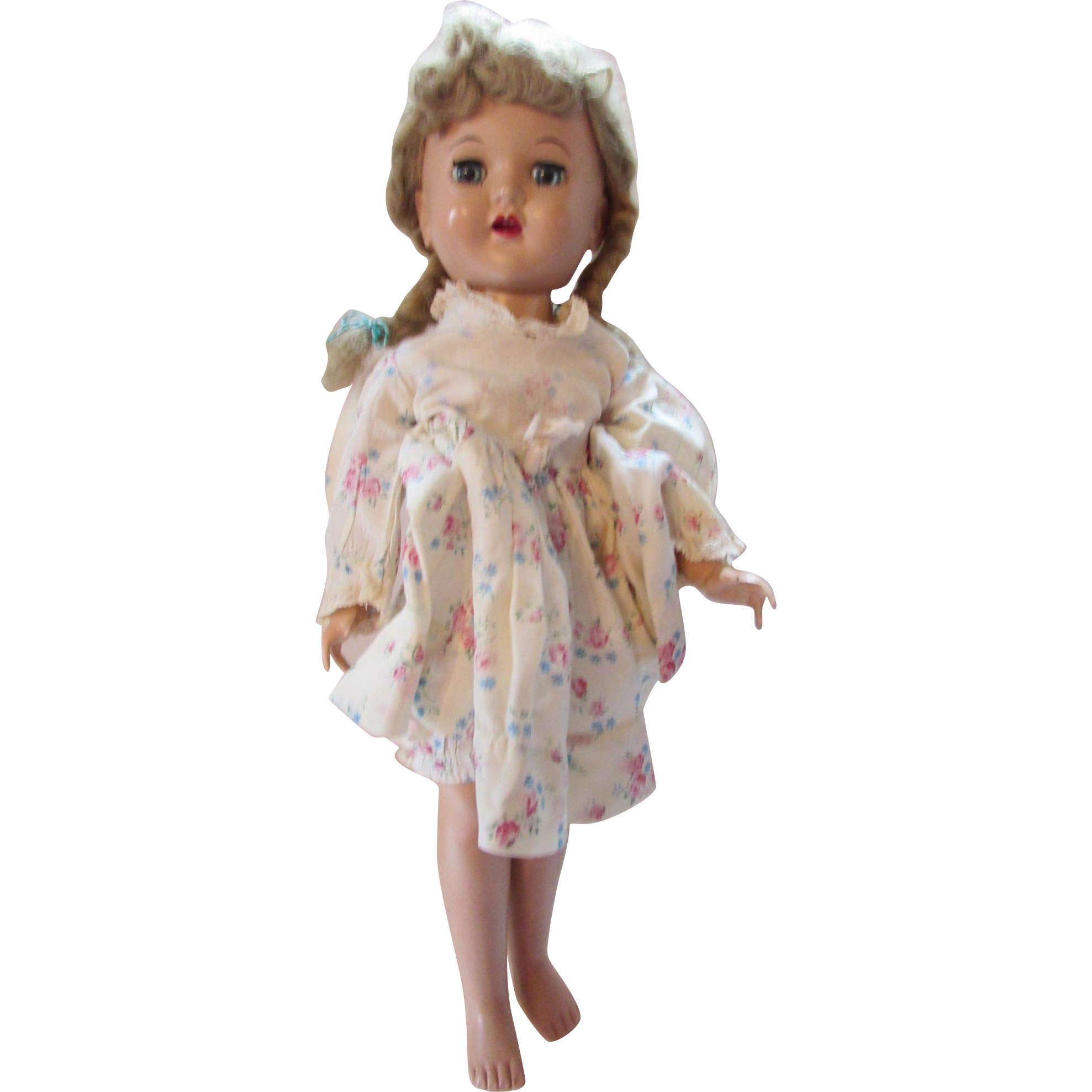Mid Century Doll in Hard Plastic Walker in Comtemporary Outfit