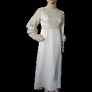 1970 Era Wedding Dress Empire Waist and Lace Trim in Cream Satin Chiffon Murray Hamburger Size 8