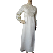 1970 Era Wedding Dress Empire Waist and Lace Trim in Cream Satin Chiffon Murray Hamburger Size 8