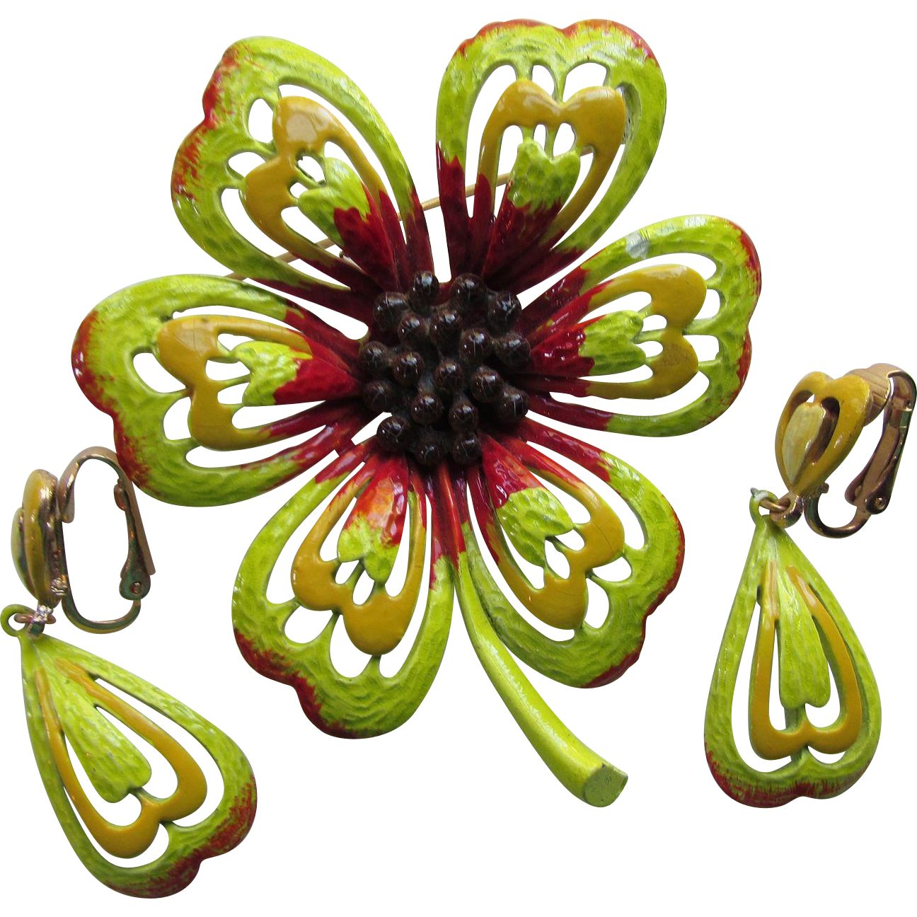 Flower Power Pin and Earrings by Hedy in Lime Green, Mustard and Red
