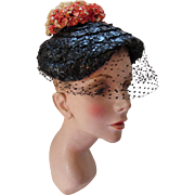Black Cellophane Straw Topper Hat with Flower Posey in Cream Tangerine by Nat Frank