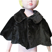 Early 20th Century Child or Adolescent Cape in Deep Brown Faux Fur Brocade Lining