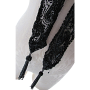 Black Victorian Style Beaded on Net Tassel Scarf